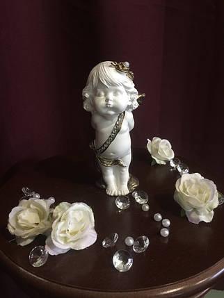 Ангел гипсовый Девочка стоящая с букетом средняя золото, фото 2