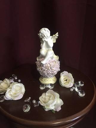 """Ангел гипсовый """"На шаре из роз"""" средний покраска пастель, фото 2"""