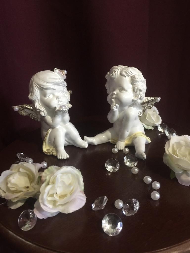 Ангел гипсовый Пара мальчик + девочка средние пастель