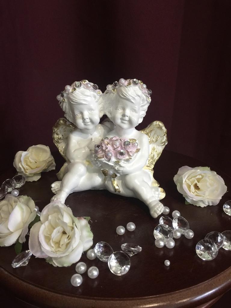 Ангел гипсовый Пара с цветами пастель