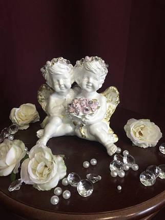 Ангел гипсовый Пара с цветами пастель, фото 2