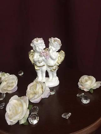 Ангел гипсовый Парочка с букетом покраска пастель, фото 2