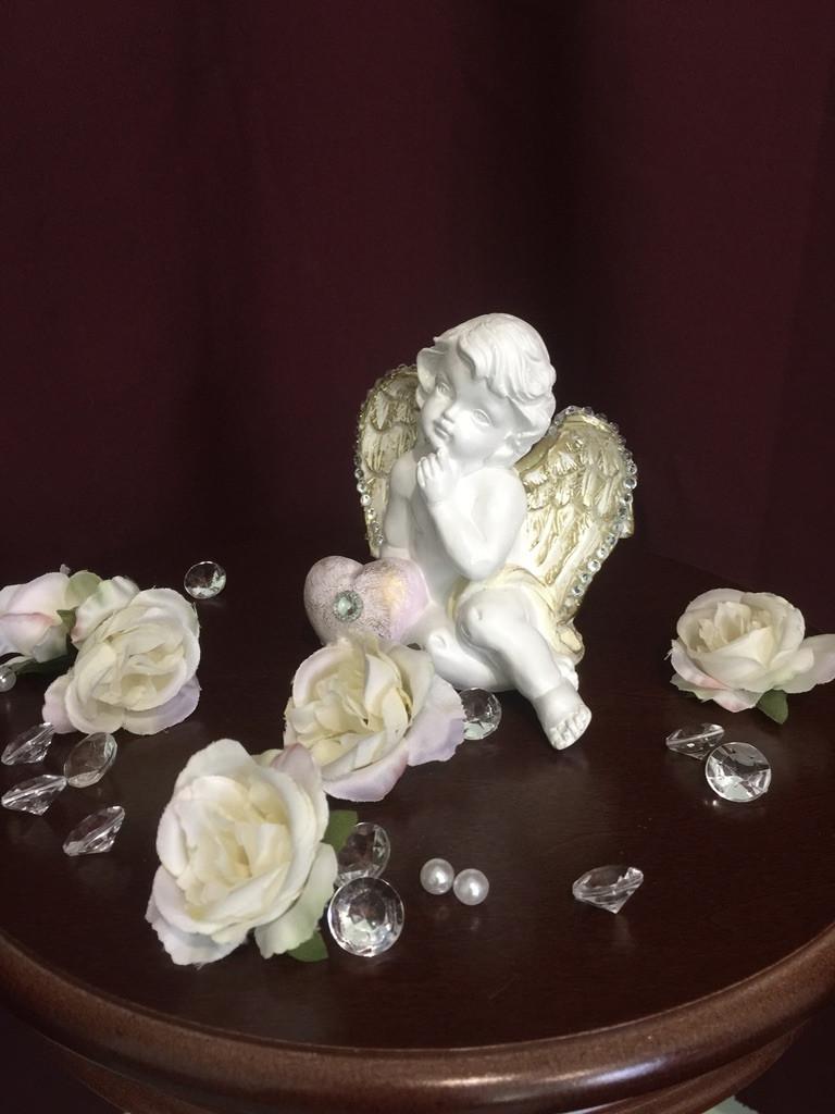 Ангел гипсовый С сердцем сбоку покраска пастель