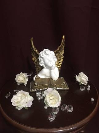Ангел гипсовый Сидящий на книге покраска золото, фото 2
