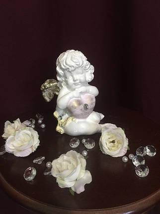 Ангел гипсовый Сидящий с сердцем средний покраска пастель, фото 2