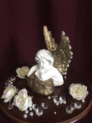 Ангел гипсовый Спящий на камне золото, фото 2