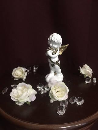 Ангел гипсовый Стоящий с букетом покраска золото, фото 2