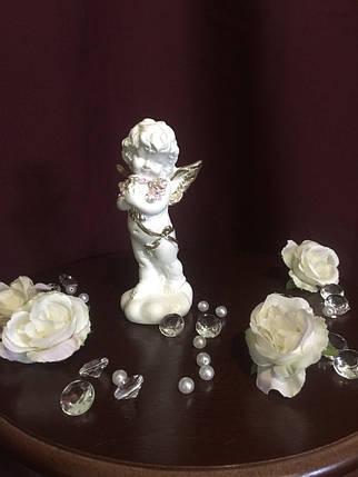Ангел гипсовый Стоящий с букетом покраска пастель, фото 2