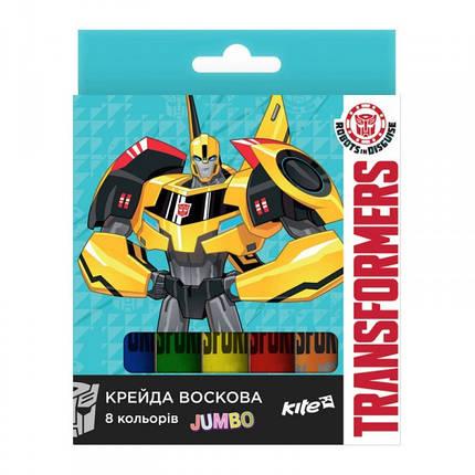 Карандаши восковые Kite Jumbo Transformers TF17-076, 8 шт., фото 2