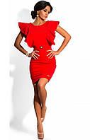 Красное платье футляр с воланами на плечах