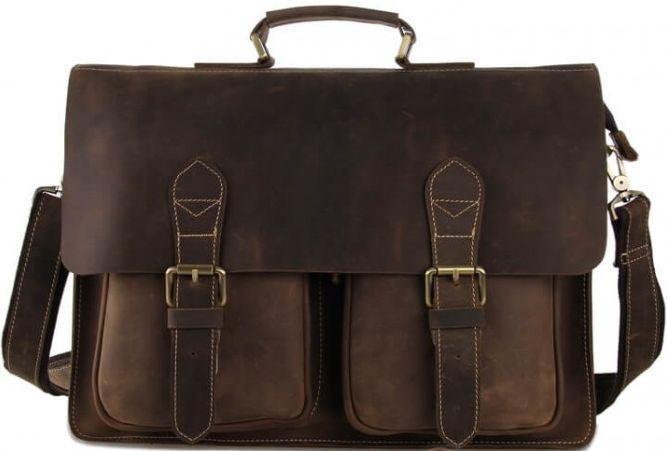 Мужской вместительный кожаный портфель Tiding Bag 7105B коричневый