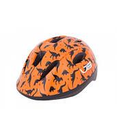 Шлем детский Green Cycle Dino размер 50-54 см оранжевый/чёрный лак
