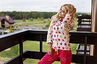 Женская стильная пижама брюки и рубашка