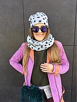 Комплект (двойная шапка+двойной снуд) серый Снежинка