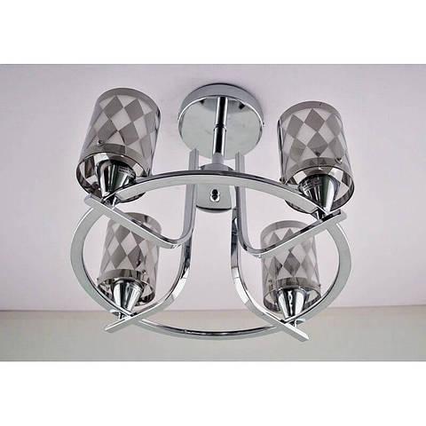 Люстра хромовая на четыре лампы плафон c хромовым рисунком SS-12248/4H