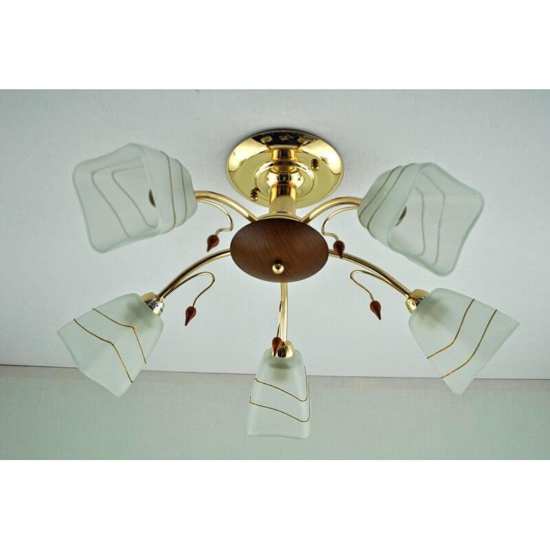 Люстра золотая на пять ламп с белым плафоном SL-12244/5C FG BN