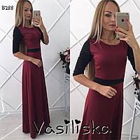 Стильное трикотажное длинное платье ан-10681-2