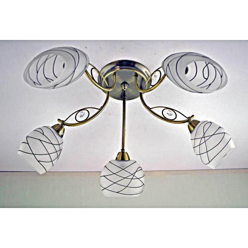 Люстра бронзовая на пять ламп плафон белый с черными полосками SW-12213-5C AB