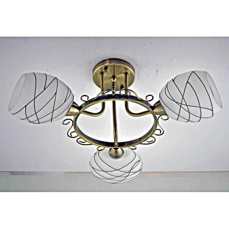 Люстра бронзовая на три лампы с белым плафоном SW-12217/3C AB