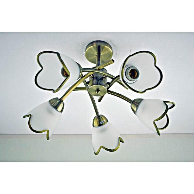 Люстра бронзовая на пять ламп плафон белый с бронзовым кантом SW-12212-5C A AB