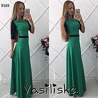 Стильное трикотажное длинное платье ан-10681-3