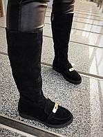 Черные замшевые женские сапоги еврозима