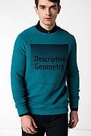 Зеленый мужской свитшот De Facto/ Де Факто с надписью на груди Descriptive geometry