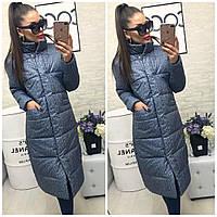 Удлиненное женское пальто на синтепоне