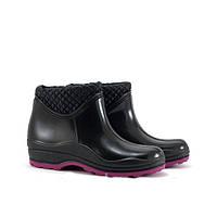Ботинки женские ПВХ утепленные флисом черные