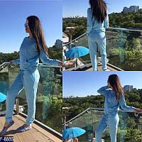 Стильный голубой женский спортивный костюм  двухнитка Турция    Арт-15081