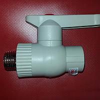 Полипропиленовый кран латунный шар 25х3/4 мм наружный