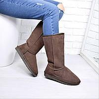 Угги женские Коричневые замша 3740, зимняя обувь