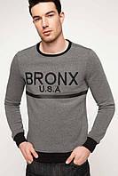 Серый мужской свитшот De Facto/ Де Факто с черной окантовкой и надписью на груди Bronx