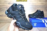 Зимние ботинки+кроссовки на меху Adidas Fastr черные