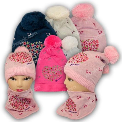 ОПТ Комплект шапка и шарф (треугольный) для девочки, р. 48-50, подкладка флис, 7037 (5шт/набор)