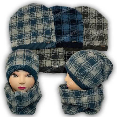 Комплект шапка и шарф (труба) для мальчика, р. 52-54, подкладка флис, 7048