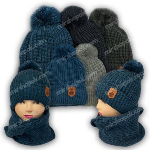 Комплект шапка и шарф для мальчика, р. 52-54, подкладка флис, 7049