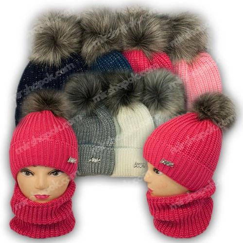 ОПТ Комплект шапка и шарф (труба) для девочки, р. 52-54, подкладка флис, 7087 (5шт/набор)
