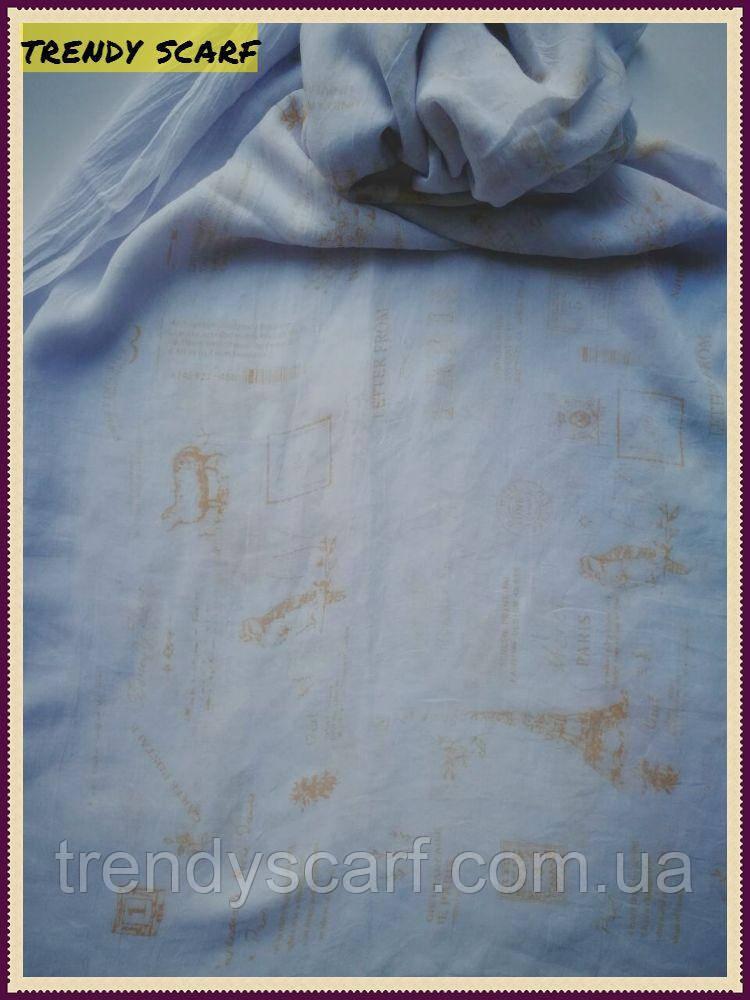 Женский Шарф палантин вискоза белый желтый эйфелевая башня марки абстракция