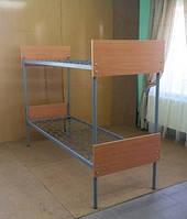 Кровать двухьярусная, металлическая 190*70, спинка ОДСП КП