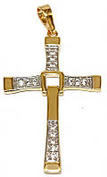 Крестик фирмы Хuping, цвет: позолота+родий, камни: белый циркон. Высота 5 см. ширина 27 мм.
