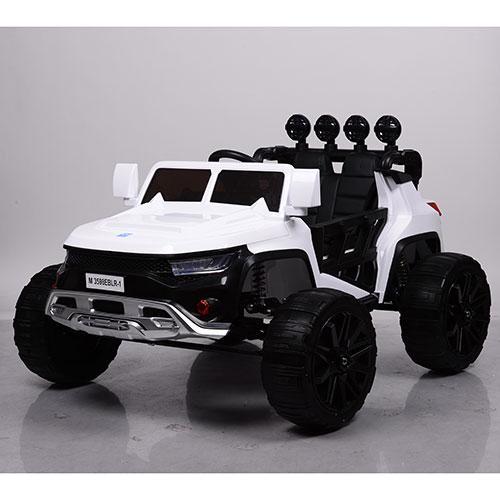 Детский электромобиль Hummer M 3598 белый, кожа, амортизаторы, двери, багажник, EVA, ручка-чемодан