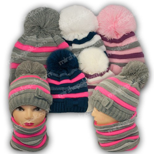 Комплект шапка и шарф (труба) для девочки, р. 52-54, подкладка флис, 7090