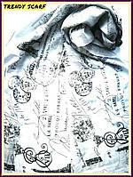 Женский Шарф палантин вискоза белый черный марки абстракция