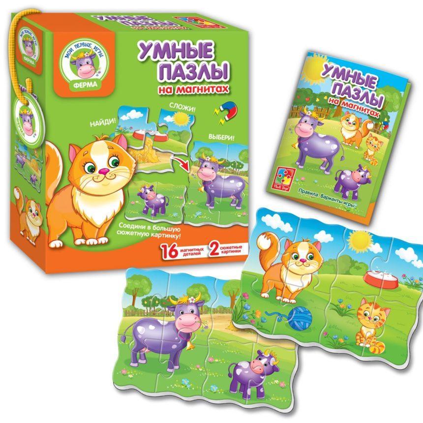 Магнитная игра Vladi Toys Умные пазлы Ферма (Рус) (VT1504-33)