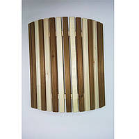 Ограждение светильника угловое рейка / липа с термовставкой «Зебра» для бани и сауны