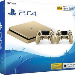 Sony Playstation 4 SLIM Gold Limited Edition (500 Gb, gold, дополнительный Dualshock 4)