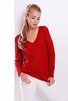 Женская стильная вязаная кофта с пояском и ажурным рисунком цвет красный