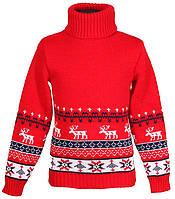 """Теплый вязанный свитер """"Олени"""" для девочки, цвет красный"""