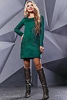 Женское платье с вышивкой, эко-замш, зелёное, размер 46